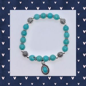 Turquoise Bead Bracelet with Turquoise Charm